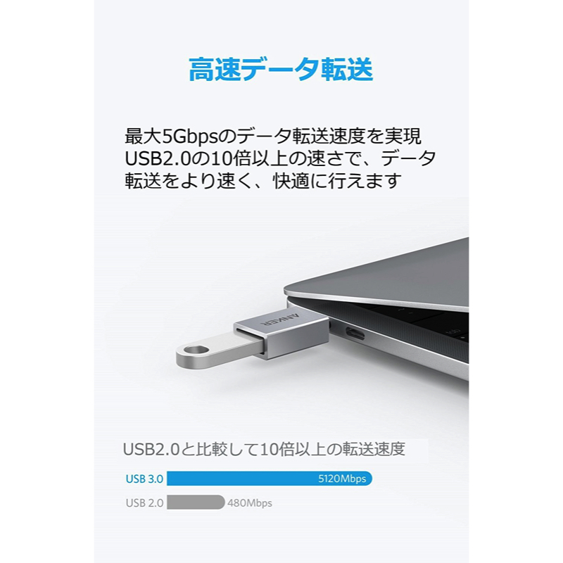 Anker USB-C & USB 3.0 変換アダプターの機能