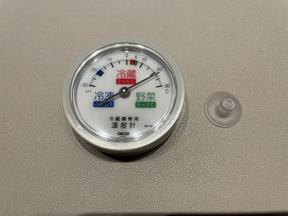 クレセル 冷蔵庫用温度計 AP-61の外観と付属品